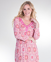 Ellen Tracy Sleepshirt Lounger - 3/4 Sleeve Long Rayon Gown in Star Festival