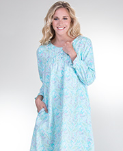 Plus La Cera Long Sleeve Cotton Flannel Nightgown in Confetti Floral