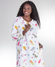 Cotton Flannel Nightgown - La Cera Long Sleeve Gown in Porcelain Cat