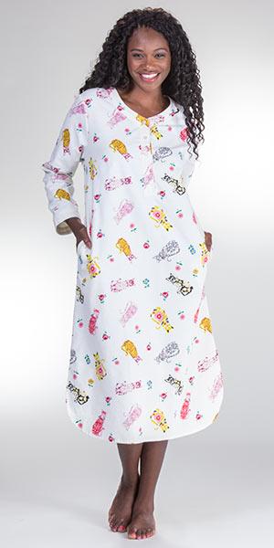 Plus Cotton Flannel Nightgown - La Cera Long Sleeve in Porcelain Cat 7897cf723