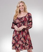 3/4 Sleeve Nostalgia Crinkle Rayon Dress in Maroon Floral