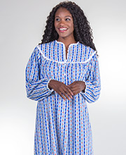 Lanz Flannel Royal Blue Tyrolean Night Gown with Classic V-Neckline
