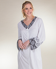 Zip Front Robes - Aria Long Polyester Rayon Robe in Medallion