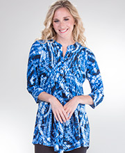 La Cera Pleated Tops - 3/4 Sleeve Poly Blend Tunic Top in Blue Ripple