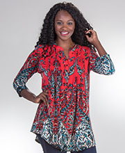 La Cera Poly Blend 3/4 Sleeve Pleated Tunic Top in Paisley Parliament