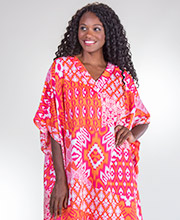 One Size Kaftans - Winlar Polyester Long Caftan Dress in Sherbert