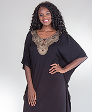 Caftans by Ellen Tracy - Rayon Blend Scoop Neck in Glittering Midnight