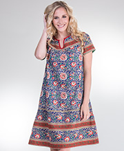 Plus La Cera Short Sleeve Cotton Float Dress - Mexicali Crimson