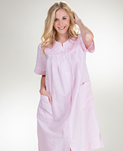 Plus Seersucker Short Robe - Miss Elaine Snap Front Robe In Peach or Mint