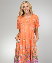 Plus La Cera Dresses - Rayon Button Front Short Sleeve in Peach Oasis