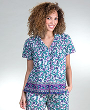 Cotton Pajamas - La Cera Short Sleeve Pajamas in Vineyard Palace