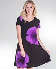 A-Line Short Sleeve Dress by Pretty Woman in Purple Botanical