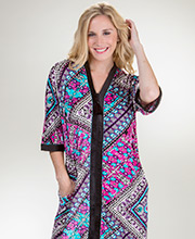 Ellen Tracy Zip Front Short Sleeve Poly Blend Caftan in Evanescent