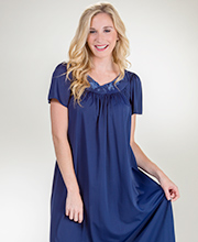 Miss Elaine Classics Long Flutter Sleeve Nylon Nightgown - Navy