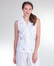 La Cera Cotton Sleeveless Capri Pajamas in Smooth Sailing