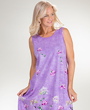 Cotton Knit Dress - La Cera Sleeveless Mid Dress in Lilac Charm