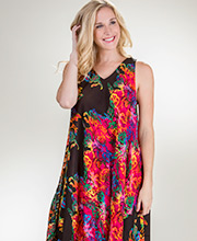La Cera Plus Rayon Sleeveless Casual Trapeze Dress - Neon Twist