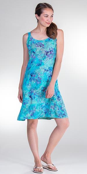 cba4d0691d Batik Sun Dresses - Lost River Sleeveless Rayon Short Dress in Surf