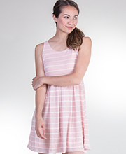 Sundresses - Neesha Short Sleeveless Poly Blend Tank Dress in Pink Stripe