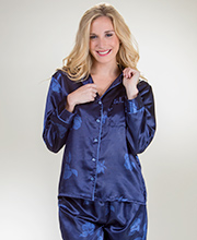 Brushed Backed Satin PJs by Kay Anna - Navy Petals