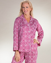 Brushed Back Satin Pajamas - Miss Elaine Long Sleeve in Wine Floral