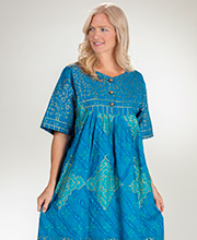 Sante Cotton Short Sleeve Dress in Gilded Teal
