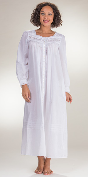 40d5173e25 y8-28-18Long Sleeve Robe Button Front Gown by Eileen West - White Cotton  Robe in Magnolia