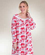 Nightgowns by Eileen West - Long Sleeve Woven Cotton/Rayon in Ruby Rich