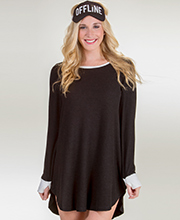 Kensie Long Sleeve Rayon Polyester Nightshirt with Sleep Eye Mask - Black