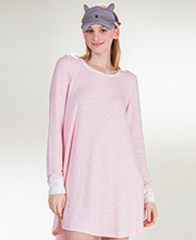 Kensie Rayon Polyester Long Sleeve Nightshirt with Sleep Eye Mask - Blush