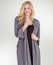 Natori Wrap Robe - Long Sleeve Poly Rayon Knit Long Robe in Gray