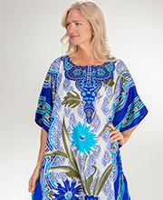Winlar One Size Polyester Long Caftan Loungers in Sapphire Garden