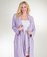 Long Bathrobe - Long Sleeve Rayon Blend Wrap Robe in Lavender