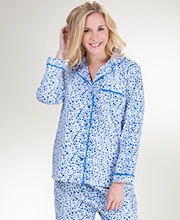 Flannel Pajamas - La Cera 100% Cotton Pajama Set in Blue Snuggles