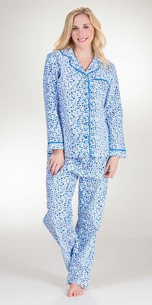 e2573ebb8e Flannel Pajamas - La Cera 100% Cotton Pajama Set in Blue Snuggles