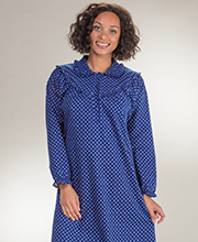 Long Kayanna Nightgowns - Flannel Long Sleeve Gown in Blue Diamonds