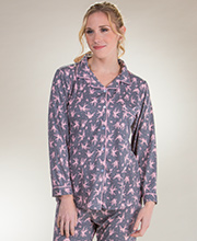 Body Touch Long Sleeve Pajamas - Button Front Knit PJs in Doves