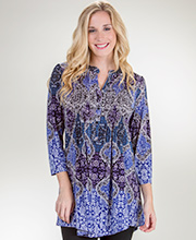 3/4 Sleeve La Cera Pleated Poly Blend Tunic Top in Baltic Fusion
