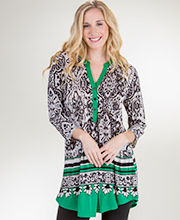 La Cera Plus Tops - Poly Blend 3/4 Sleeve Silky Tunic in Emerald Chic