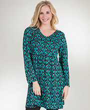 La Cera Dresses - Empire Waist Long Sleeve Poly Blend in Ornate Turquoise