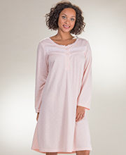 Long Sleeve Gowns by Body Touch - Short Polyester Scoop Neck Nightgown in Peach Dots