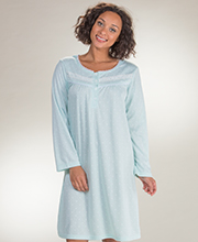 Short Nightgown by Body Touch - Long Sleeve Polyester Scoop Neck Gown in Seafoam Dots