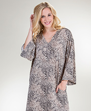 3/4 Sleeve Natori Poly Knit Long V-Neck Caftan in Desert Animal