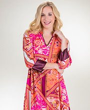 Natori N Caftan -  Long V-Neck Rayon Long Sleeve Kaftan In Rose Bandana