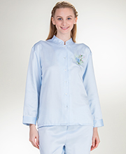 KayAnna Brushed Backed PJs with Mandarin Collar - Blue