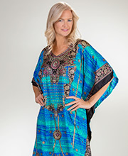 Sante One Size Full Length 100% Polyester Kaftan in Island Waters