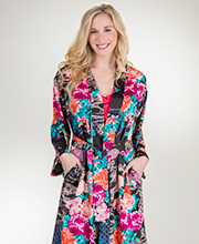 Natori Poly Charmeuse Long Sleeve Wrap Robe in Floral Dreams