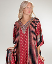 One Size Sante Caftans - Polyester V-Neck Kaftan in Dramatic Burgundy
