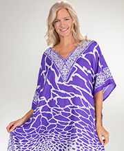 Sante Caftans - V-Neck One Size Polyester Kaftan in Purple Pow