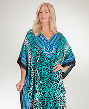 Sante One Size Polyester V-Neck Kaftan in Teal Zoo